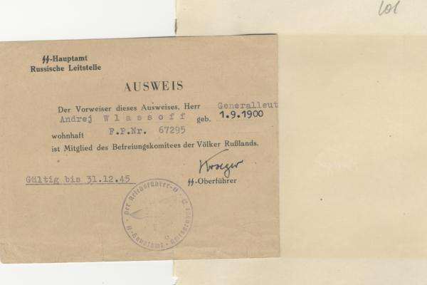 Identification card of General Vlasov, KONR member 12/30/1944