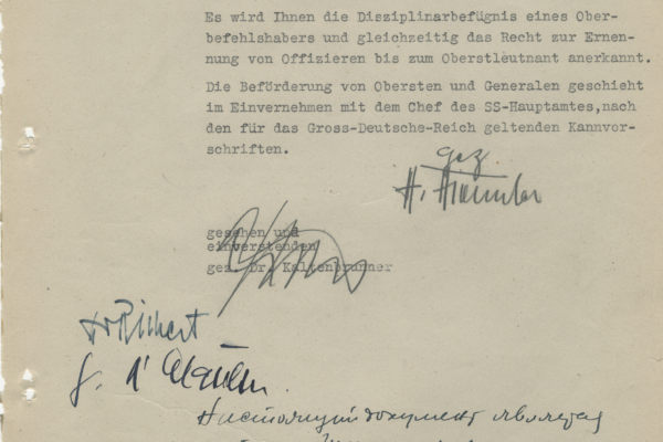 Telegram from Heinrich Himmler to General Vlasov conveying news of General Vlasov's appointment as Supreme Commander of the Russian divisions 1/28/1945