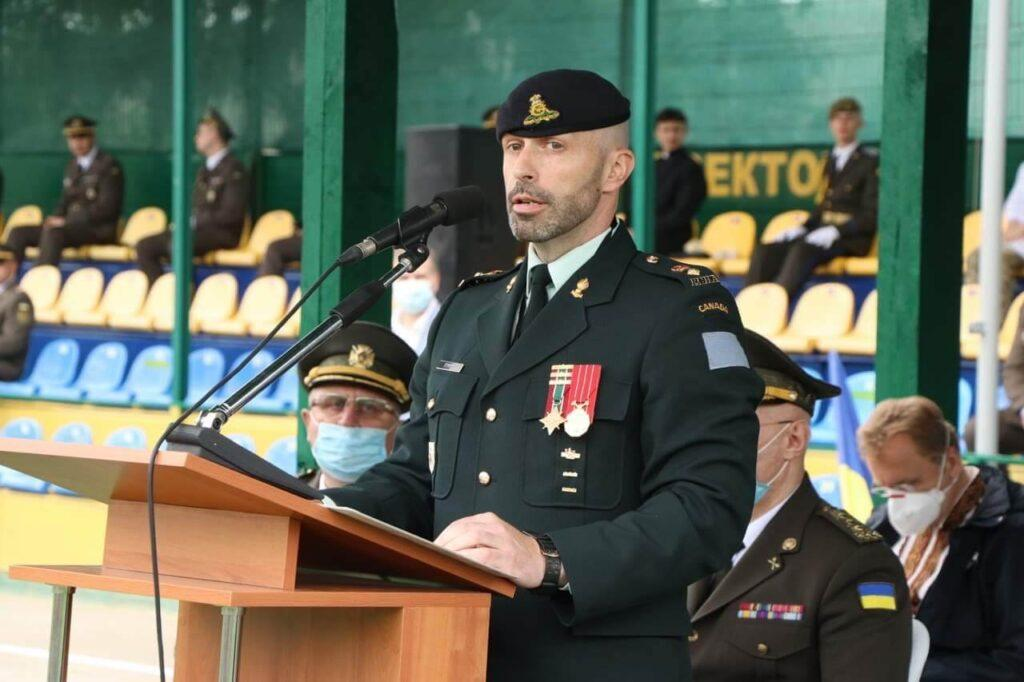 4 Photo posted to the Canadian Armed Forces in Ukraine Facebook page shows then Commanding Officer of Canada's Operation UNIFIER Lieutenant-Colonel (LCol) Ryan Stimpson spea